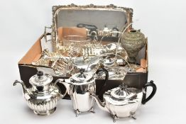 A BOX OF ASSORTED WHITE METAL WARE, to include a large rectangular tray fitted with double