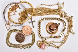A BAG OF MOSTLY COSTUME JEWELLERY, to include a silver hinged bangle, decorated with a rose gold