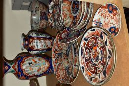 ORIENTAL CERAMICS, to include assorted Imari pattern plates including modern examples, diameter of