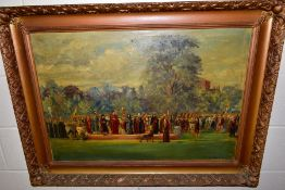 MAURICE BLOCKLEY (ACTIVE 1948-1953) 'ST ALBANS PAGEANT' a recreation of a historic scene, signed