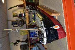 MODEL BOAT 'COLLIN, BRISTOL' in wooden stand, approximate length 85cm, height 41cm, fitted with