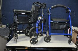 THREE DISABILITY AIDS including two walkers and a folding wheelchair (3)