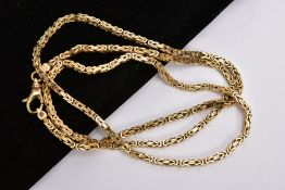A 9CT GOLD BYZANTINE CHAIN, fitted with a lobster claw clasp, hallmarked 9ct gold London import,