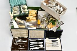 A BOX OF ASSORTED SETS AND LOOSE CUTLERY, to include a cased set of six mother of pearl handle