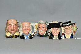 FIVE ROYAL DOULTON CHARACTER JUGS, comprising Mr Pickwick D7025 (glasses loose), Mark Twain D6694,