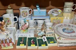 A COLLECTION OF BEATRIX POTTER RELATED CERAMICS, PRINTS AND COSTUME JEWELLERY, ETC, including a