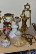 LIGHTING ACCESSORIES, ETC, to include a cut glass oil lamp base, ceramic and gilt metal lamp