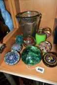 SEVEN ASSORTED GLASS PAPERWEIGHTS AND THREE OTHER GLASS ITEMS, including a Victorian green glass