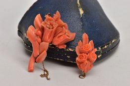 A LATE 19TH CENTURY CARVED CORAL BROOCH AND PENDANT, both of floral and foliate design, brooch