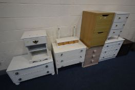 A QUANTITY OF BEDROOM FURNITURE comprising two white low chests of three drawers, chest of two long,