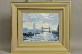 CHARLES ROWBOTHAM (BRITISH CONTEMPORARY) 'TOWER BRIDGE, SUMMER SHADOWS' a Thames river cityscape,