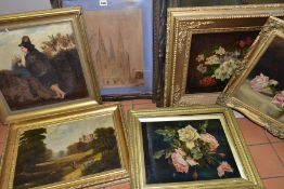 OIL PAINTINGS AND WATERCOLOUR COMPRISING FOUR EARLY/MID 20TH CENTURY STILL LIFE OILS ON CANVAS AND