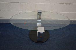 A MODERN OVAL GLASS TOP CHROME FRAMED COFFEE TABLE, width 118cm x depth 77cm x height 50cm