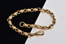 A 9CT GOLD HEAVY FANCY LINK BRACELET, designed with textured diamond shaped links, interspaced