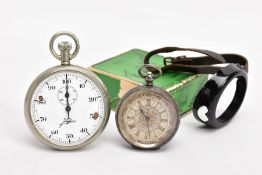 A SILVER OPEN FACE POCKET WATCH, A STOP WATCH AND AN ALBERT CHAIN, the pocket watch with a round