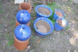 TWO PAIRS OF BLUE GLAZED PLANT POTS, largest diameter 40cm x height 26cm, two blue glazed decorative