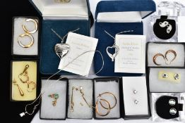 A SELECTION OF 9CT GOLD JEWELLERY AND COSTUME JEWELLERY, to include seven pairs of 9ct gold