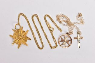 TWO PENDANT NECKLACES AND A YELLOW METAL PENDANT, to include a filigree Maltese pendant stamped '