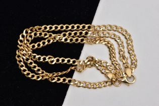 A 9CT GOLD CURB LINK CHAIN, fitted with a lobster claw clasp, hallmarked 9ct gold London, length