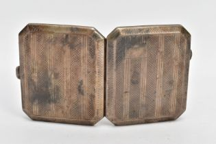 A SILVER CIGARETTE CASE, of a square form, cut off corners, engine turned design with a vacant