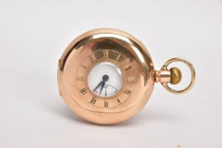 A 9CT GOLD HALF HUNTER POCKET WATCH, round white dial, Roman numerals, seconds subsidiary dial at