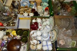 SIX BOXES OF CERAMICS, GLASS AND METALWARES to include pressed and cut glass and crystal, assorted