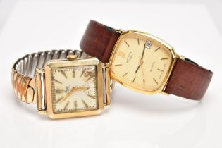 TWO GENTS WRISTWATCHES, the first a 9ct gold 'Avia' wristwatch, square silvered dial signed 'Avia De