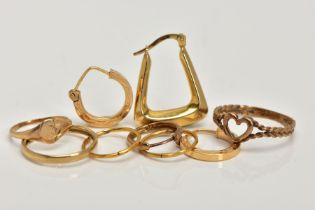 A BAG OF ASSORTED 9CT GOLD AND YELLOW METAL JEWELLERY, to include two pairs of sleeper earrings, two