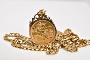 A MOUNTED FULL SOVEREIGN PENDANT AND CHAIN, the full sovereign dated 1974, within a 9ct gold