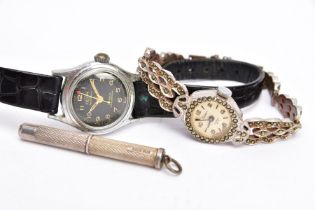 A LADIES 'ENICAR AUTOMATIC' WATCH, A LADIES STAINLESS STEEL MARCASTIE WATCH AND A SILVER CIGAR