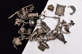 A SILVER CHARM BRACELET AND TO SINGLE CHARMS, the curb link bracelet with each link stamped,