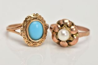 TWO YELLOW METAL RINGS, the first set with an oval turquoise, within a scroll detailed surround,