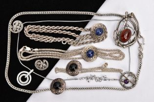 A SELECTION OF WHITE METAL JEWELLERY, to include four white metal chains, some with marks to