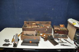 THREE VINTAGE WOODEN BOXES CONTAINING TOOLS including a Stanley Bailey No4 plane, a Marples Bull