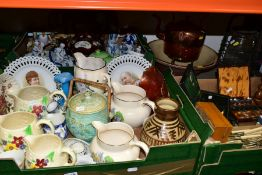 THREE BOXES AND LOOSE CERAMICS AND METALWARES etc, to include studio pottery vase marked BG, two