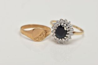 A 9CT GOLD SAPPHIRE CLUSTER RING AND A CHILDS SIGNET RING, the cluster designed with a central