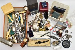 A BOX OF MISCELLANEOUS ITEMS, to include a box of cutlery, mainly stainless steel and EPNS, a Parker