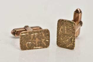 A PAIR OF 9CT GOLD CUFFLINKS, each of a rectangular textured design, hallmarked 9ct gold