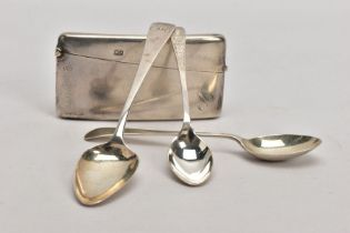 FOUR ITEMS OF SILVER, to include a rectangular card case with gilt interior and engraved initial