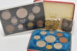 A BOX CONTAINING A SMALL AMOUNT OF UK COINAGE, to include a cased 1965 UK Year coin set, together