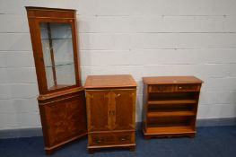 A QUANTITY OF YEW WOOD FURNITURE, to include a small open bookcase with two drawers, a corner