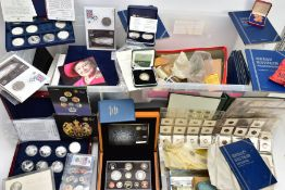TWO LARGE PLASTIC STORAGE BOXES CONTAINING WORLD COINAGE To include a box of USA coins Morgan
