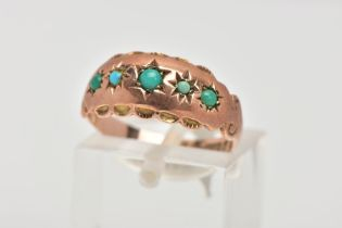 AN EARLY 20TH CENTURY ROSE GOLD TURQUOISE SET RING, designed with five star set, graduated, circular