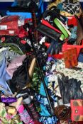 FIVE BOXES AND LOOSE LADIES SCARVES, UMBRELLAS, HANDBAGS, CLOTHING, ETC, to include a quantity of