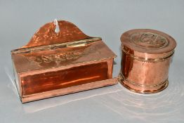AN ARTS AND CRAFTS HUGH WALLIS WALL HANGING COPPER BOX, the hinged lid embossed with a rose and
