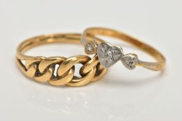 TWO RINGS, the first an 18ct gold knot ring, 18ct hallmark, ring size M, the second designed with