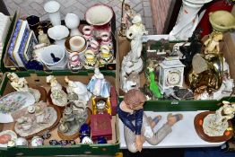THREE BOXES AND LOOSE CERAMICS to include figurines, Royal Doulton Southern Belle HN2425 (over