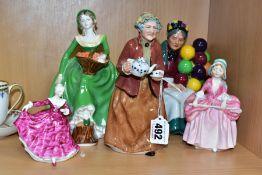 A COALPORT LADY FIGURE AND FOUR ROYAL DOULTON LADY FIGURES, comprising Coalport Ladies of Fashion '