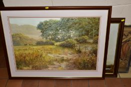 A BOX AND LOOSE PRINTS, ETC, to include a David Dipnall landscape, Gerald Coulson landscape both