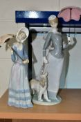 TWO LLADRO FIGURES OF LADIES WITH PARASOLS, comprising 'Lady with Shawl' model No.4914, sculpted